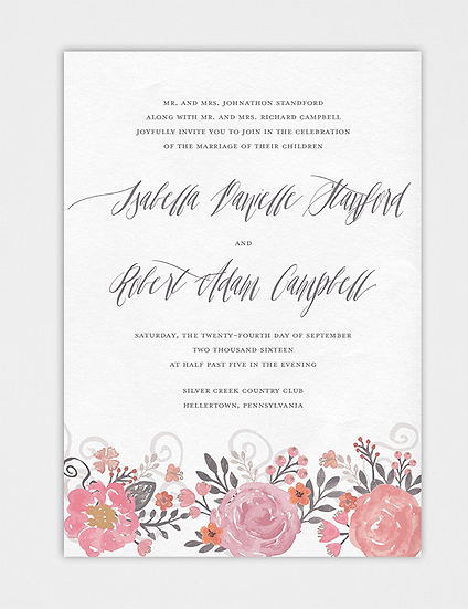 Floral Wedding Invitation, Watercolor Floral Wedding Invitation, Watercolor Wedding Invitation