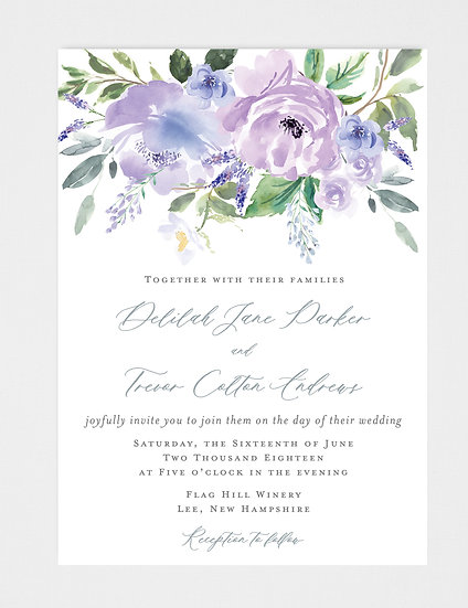 Purple Mauve Floral Wedding Invitation, Violet Wedding Invitation, Watercolor Floral Wedding Invitation