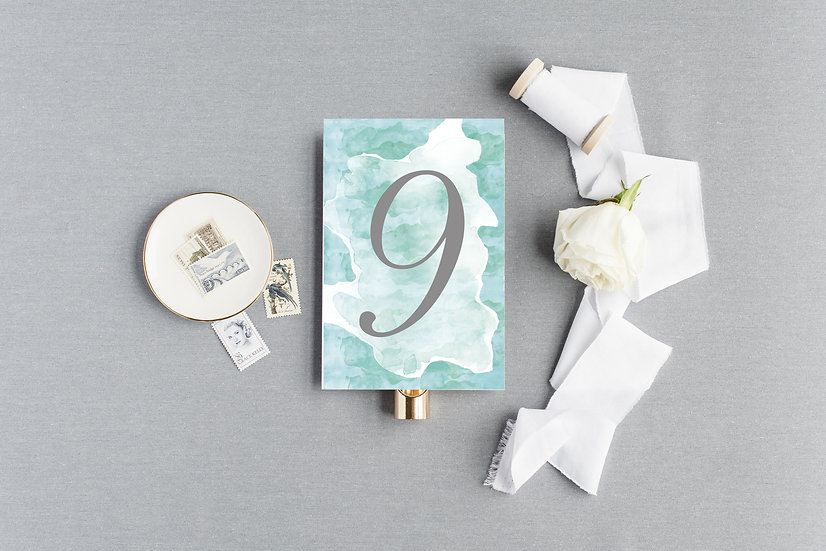 Teal Blue Turquoise Watercolor Table Numbers