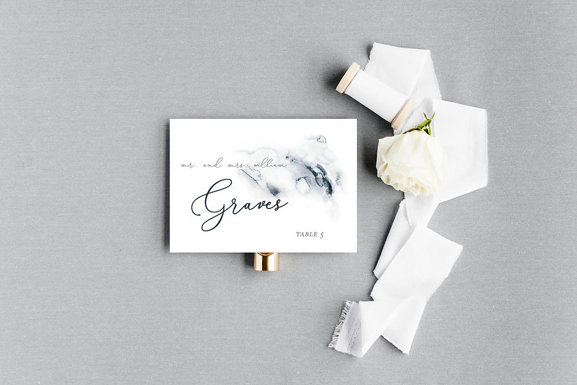 Blue Navy Watercolor Escort Cards Place Cards
