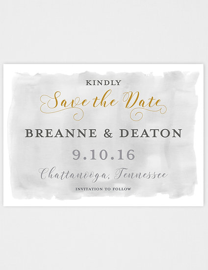 Gold and Gray Watercolor Save the Date