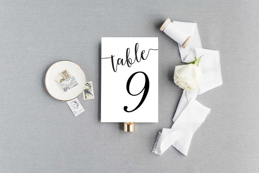 Elegant Simple Classic Modern Calligraphy Table Numbers