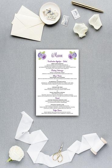 Purple Violet Watercolor Painted Floral Dinner Menu Reception Menu Wedding Menu
