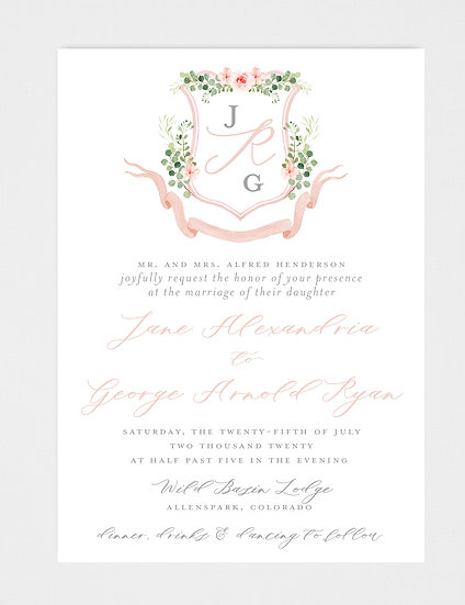 Blush Ivory Greenery Wedding Invitation, Wedding Invitation Crest, Wedding Monogram, Blush Floral Wedding Invitation