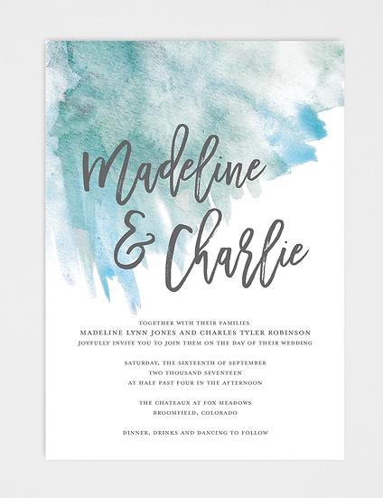 Watercolor Wedding Invitation, Blue Watercolor Wedding Invitation, Blue Wedding Invitation