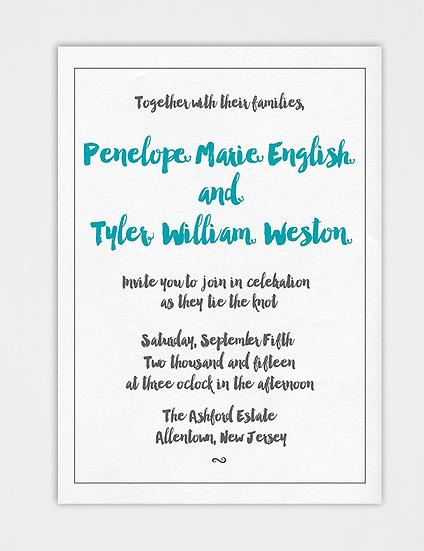 Teal Wedding Invitation, Brush Script Wedding Invitation, Brush Calligraphy Wedding Invitation