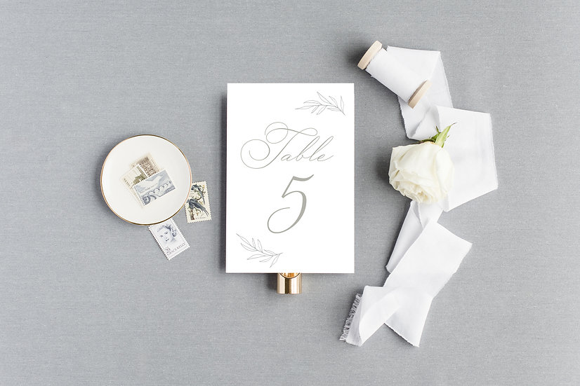 Hand drawn Sketched Floral Laurel Table Numbers