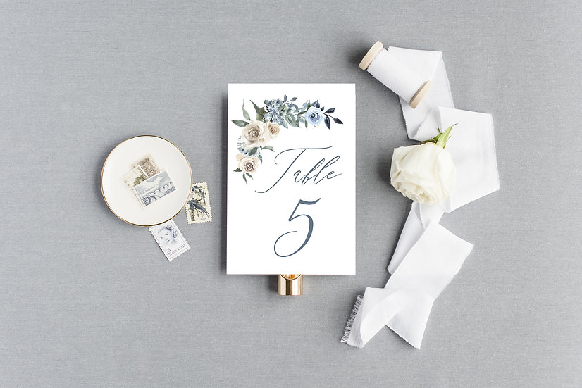 Blue Ivory Tan Watercolor Floral Table Numbers