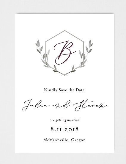 Laurel Crest Wedding Monogram Save the Date