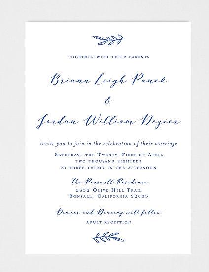 Navy Wedding Invitation, Navy Laurel Wedding Invitation, Laurel Wedding Invitation