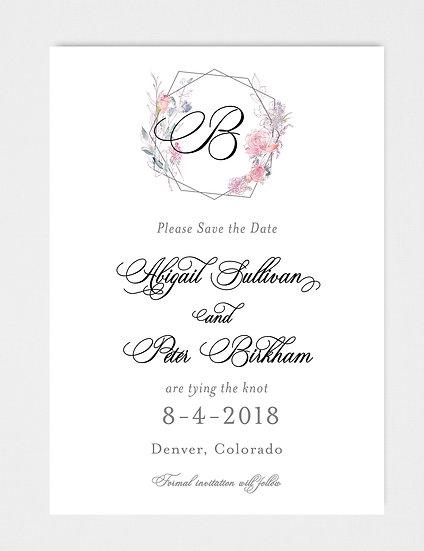 Wedding Monogram Wedding Crest Watercolor Floral Crest Save the Date