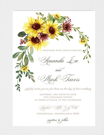 Sunflower Floral Wedding Invitation, Fall Wedding Invitation, Burgundy Floral Wedding Invitation