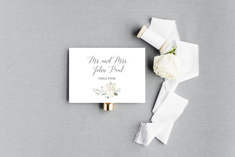 Ivory Painted Watercolor Floral Escort Cards Place Cards