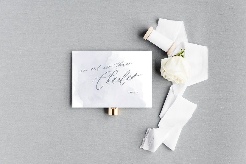 Gray and Blue Watercolor Escort Cards Place Cards