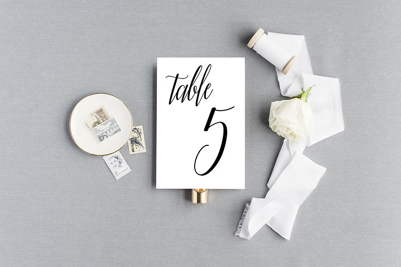 Elegant Classic Calligraphy Table Numbers