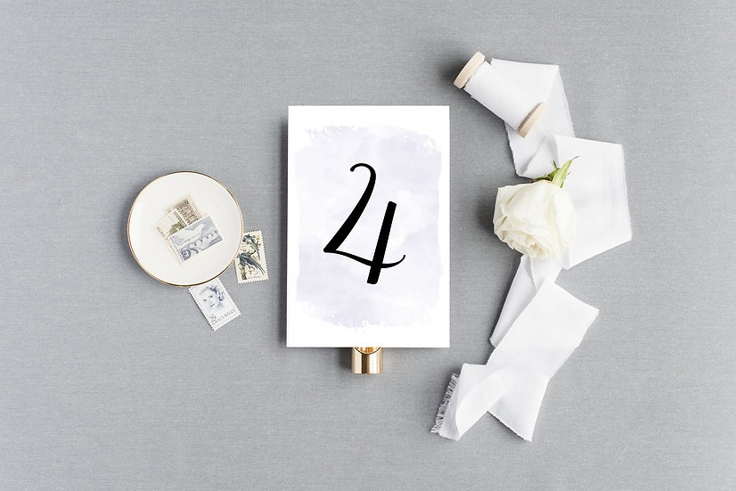 Violet Watercolor Table Numbers