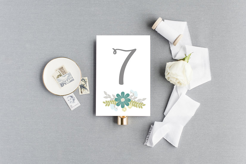 Teal Blue Watercolor Painted Floral Table Numbers