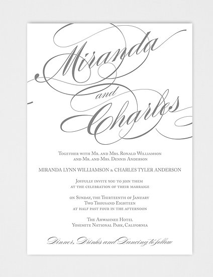 Calligraphy Wedding Invitation, Elegant Wedding Invitation, Classic Wedding Invitation, Formal Wedding Invitation