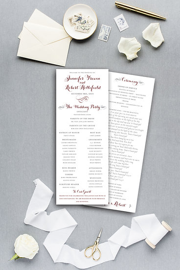 Classic Elegant Burgundy Marsala Gray Ceremony Program Wedding Program