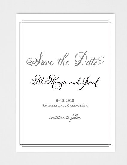 Formal Elegant Calligraphy Modern Save the Date