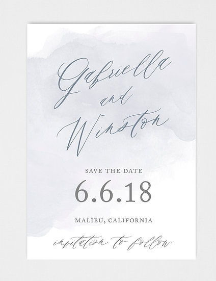 Blue Slate Blue Watercolor Save the Date
