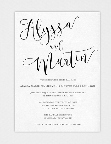 Calligraphy Wedding Invitation, Modern Wedding Invitation, Elegant Wedding Invitation, Modern Calligraphy Wedding Invitation