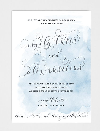 Watercolor Wedding Invitation, Blue Wedding Invitation, Blue Watercolor Wedding Invitation