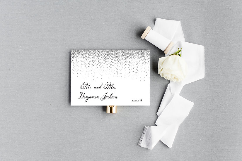 Silver Glitter Escort Cards Place Cards