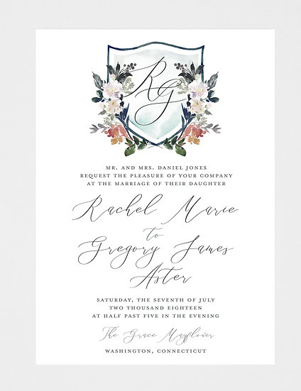 Watercolor Wedding Invitation, Watercolor Crest Wedding Invitation, Crest Wedding Invitation, Monogram Wedding Invitation