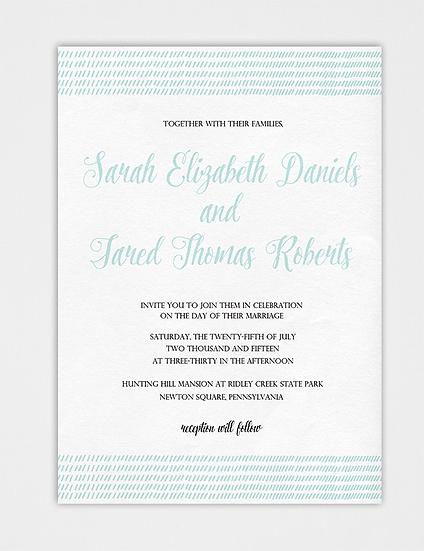 Teal Wedding Invitation, Modern Wedding Invitation, Calligraphy Wedding Invitation