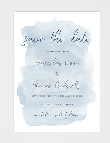 Blue Watercolor Save the Date