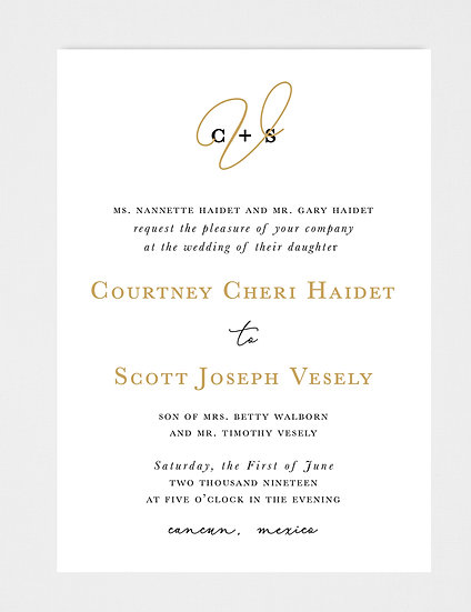 Black and Gold Wedding Invitation, Wedding Monogram, Black and Gold Wedding Monogram