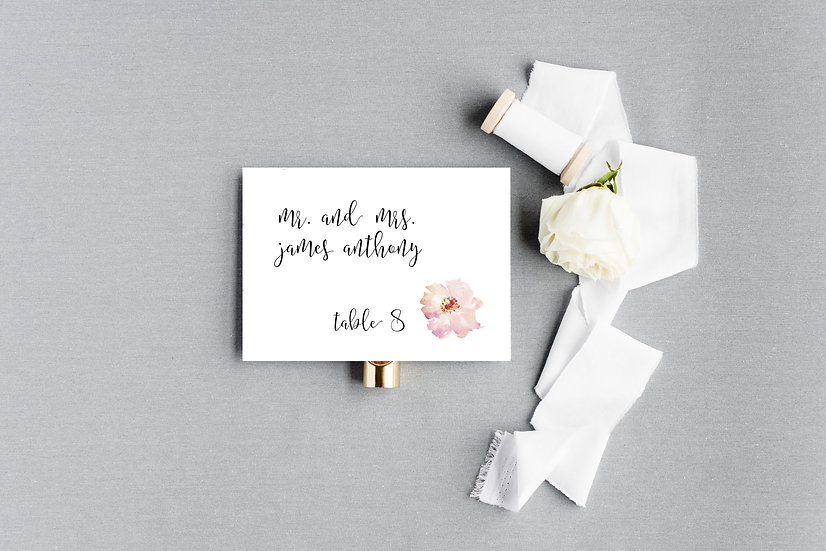 Pink Peach Watercolor Painted Floral Escort Cards Place Cards