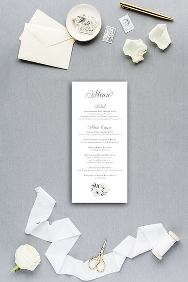 White Ivory Watercolor Painted Floral Dinner Menu Reception Menu Wedding Menu