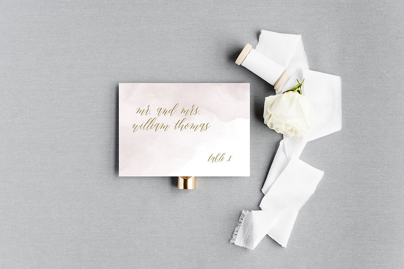 Gold and Pink Watercolor Escort Cards Place Cards