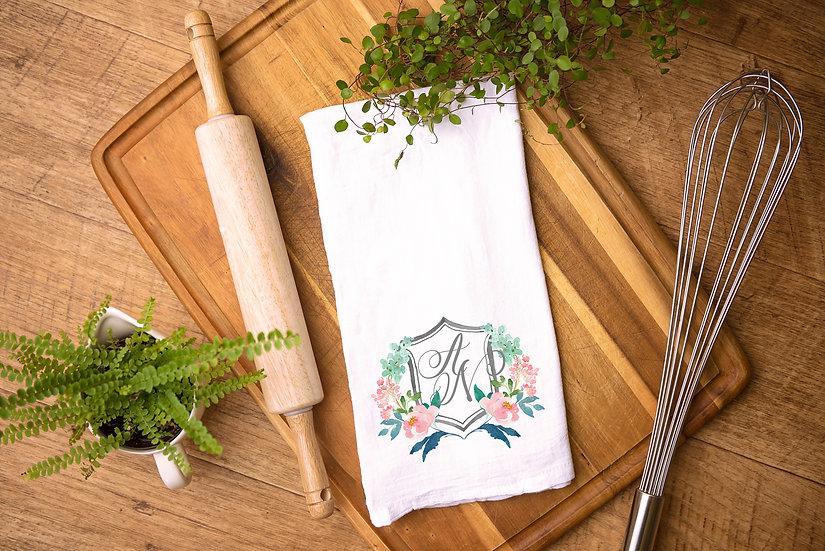 Custom Watercolor Crest Tea Towel