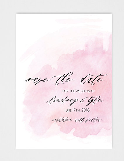 Pink Watercolor Save the Date