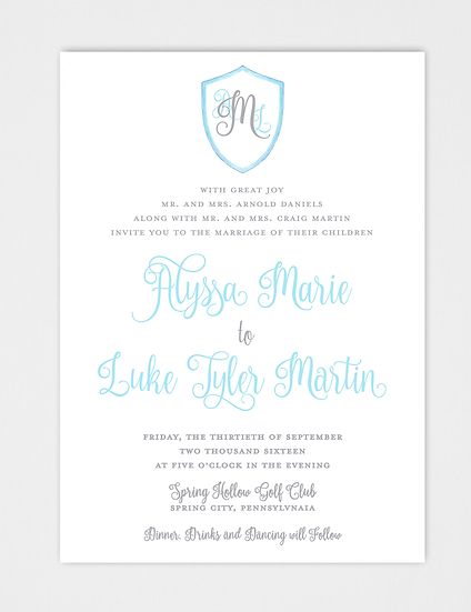 Calligraphy Wedding Invitation, Crest Wedding Invitation, Modern Wedding Invitation, Modern Calligraphy Wedding Invitation
