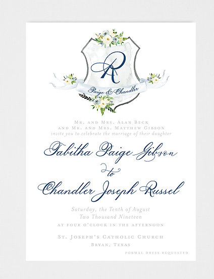 Blue Ivory Wedding Invitation, Ivory Floral Wedding Invitation, Wedding Invitation Crest, Wedding Monogram