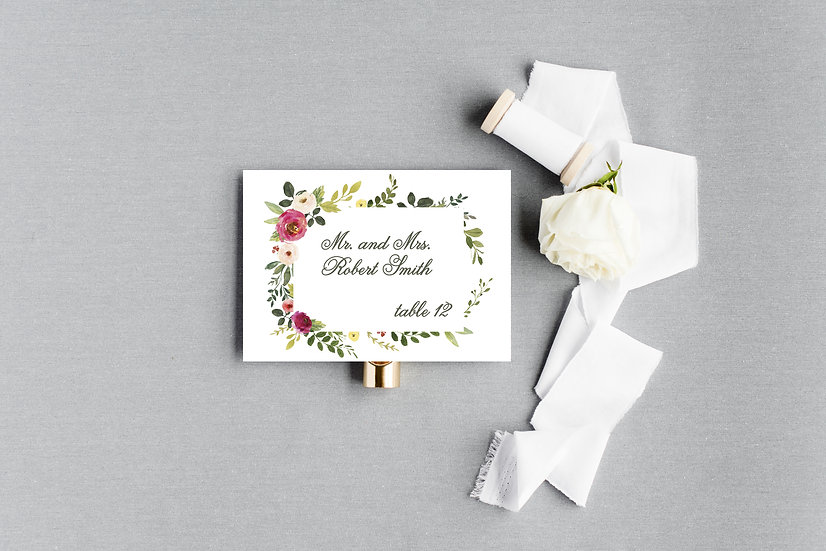 Blush Pink Painted Watercolor Floral Escort Cards Place Cards