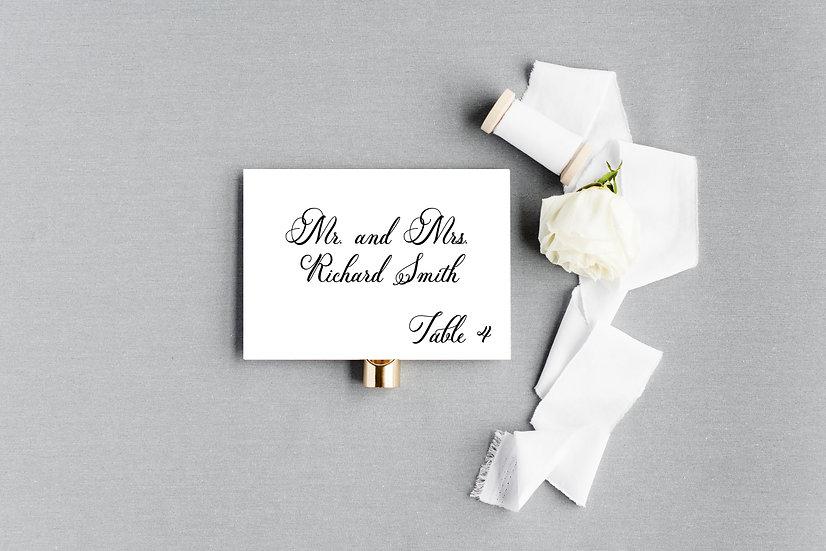 Classic Elegant Formal Calligraphy Script Escort Cards Place Cards