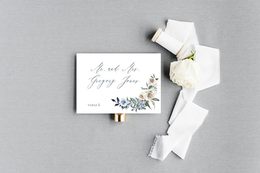 Blue Ivory Tan Watercolor Floral Escort Cards Place Cards