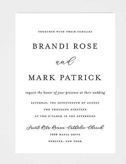 Black and White Traditional Wedding Invitation, Classic Black and White Wedding Invitation