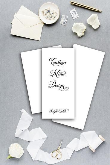 Custom Menu Custom Design Custom Dinner Menu Reception Menu Wedding Menu