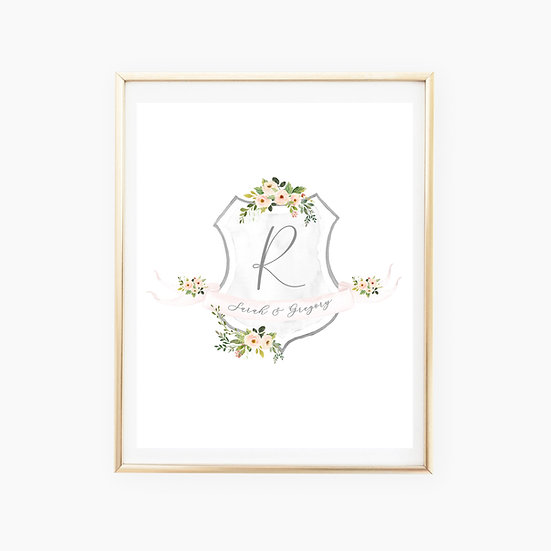Custom Floral Crest Art Print
