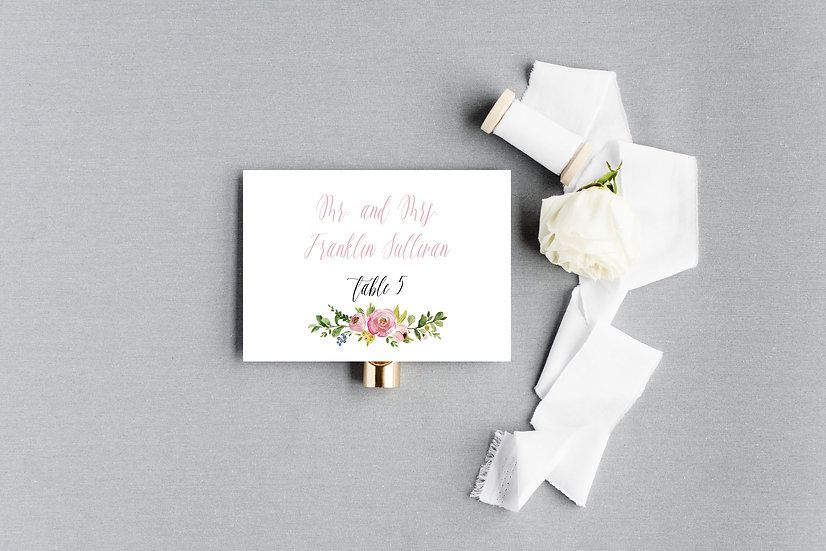 Pink Ivory Blush Painted Watercolor Floral Escort Cards Place Cards