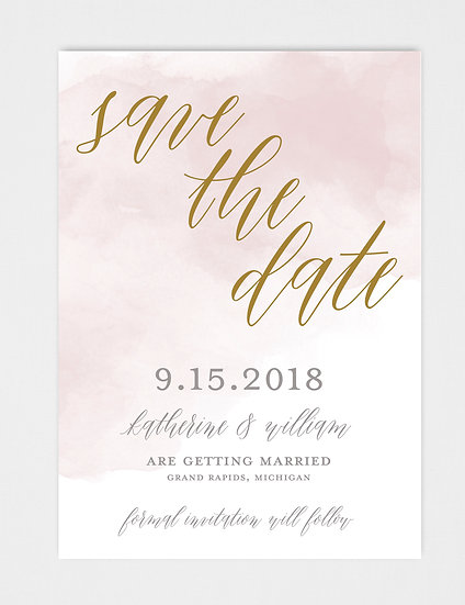Pink Watercolor Pink and Gold Save the Date