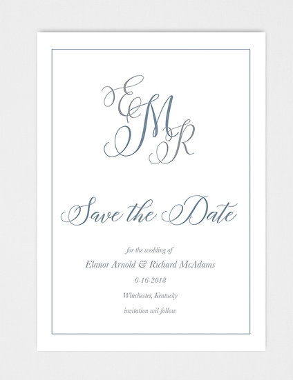 Blue and Gray Modern Calligraphy Save the Date