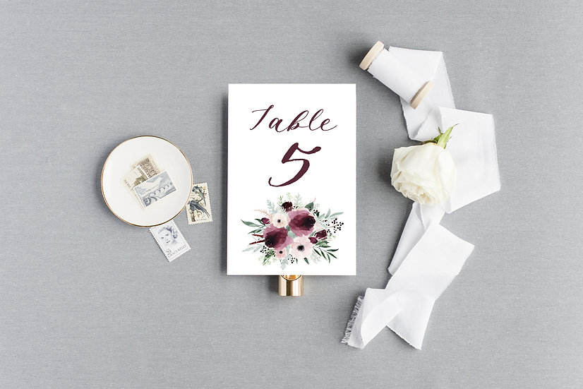 Blush Burgundy Painted Watercolor Floral Table Numbers