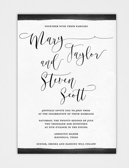 Watercolor Wedding Invitation, Calligraphy Wedding Invitation, Modern Wedding Invitation